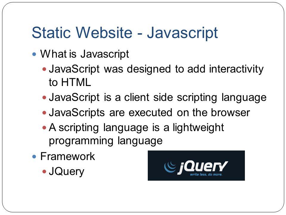 Static Website - Javascript