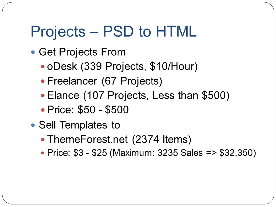 Projects – PSD to HTML Get Projects From