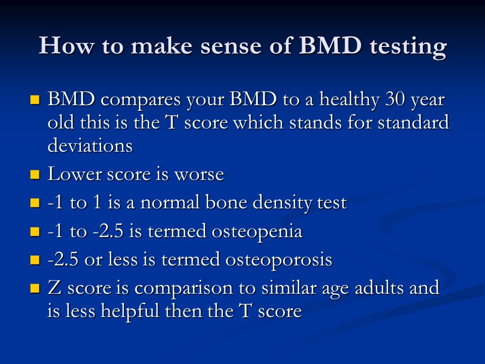 How to make sense of BMD testing