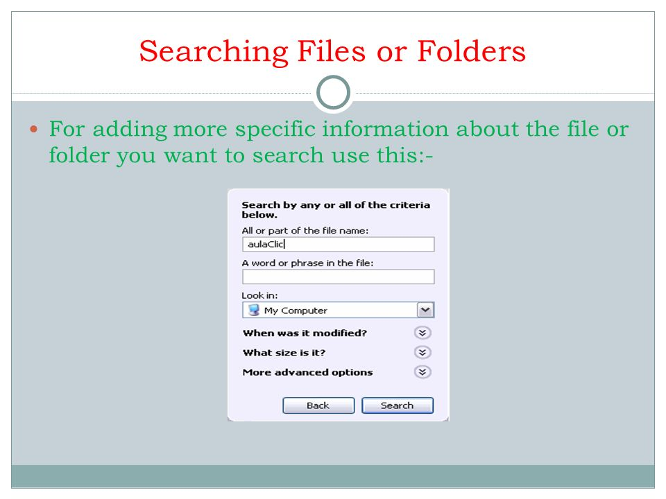 Searching Files or Folders