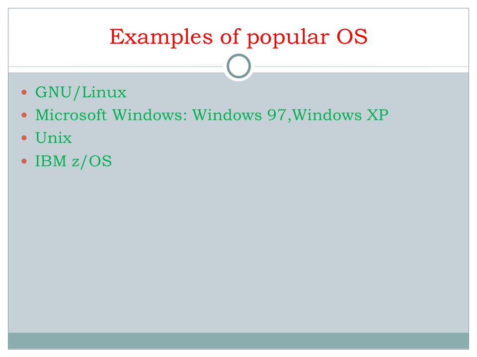 Examples of popular OS GNU/Linux