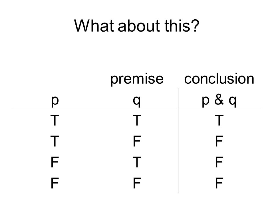What about this premise conclusion p q p & q T F