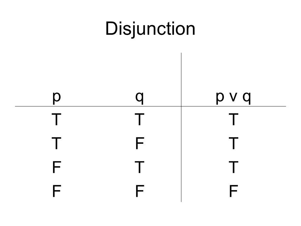 Disjunction p q p v q T F