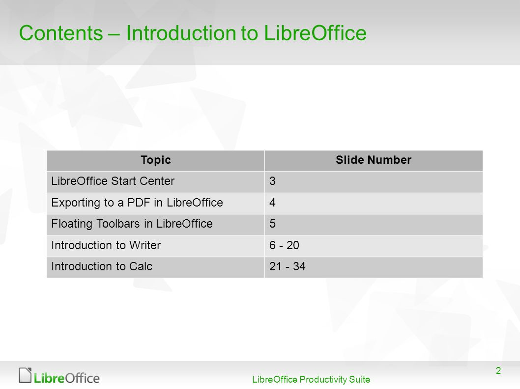 Contents – Introduction to LibreOffice