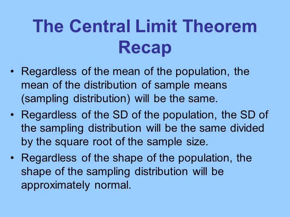The Central Limit Theorem Recap
