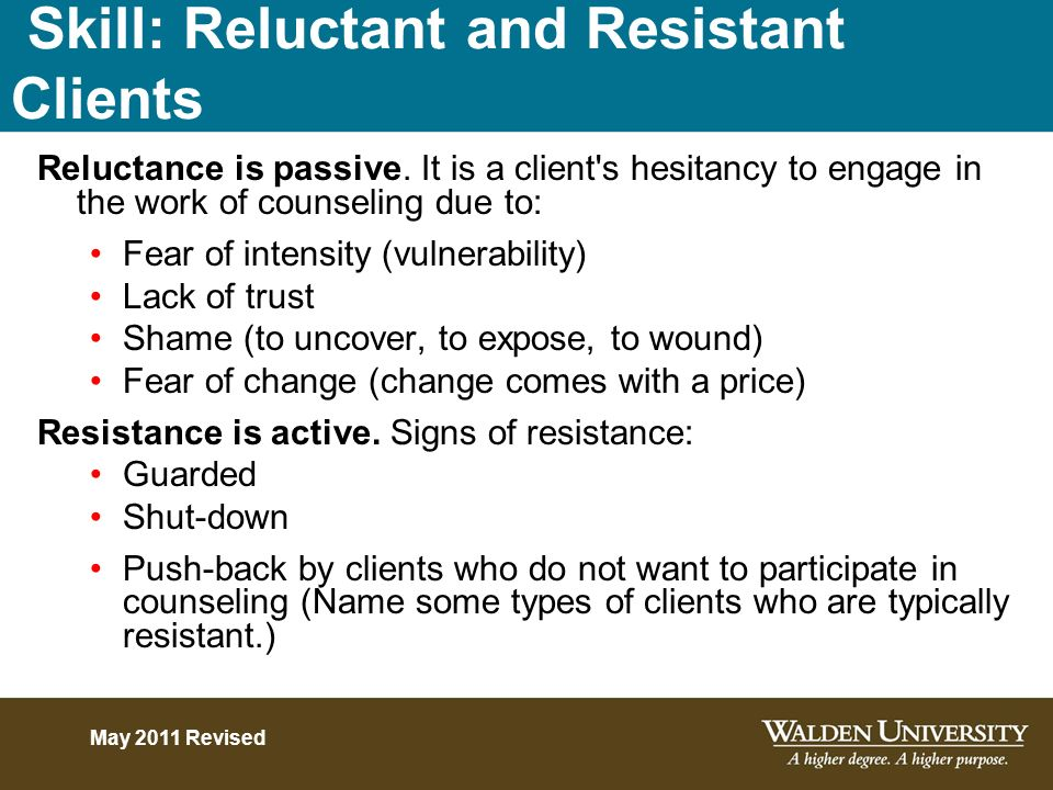 Skill: Reluctant and Resistant Clients