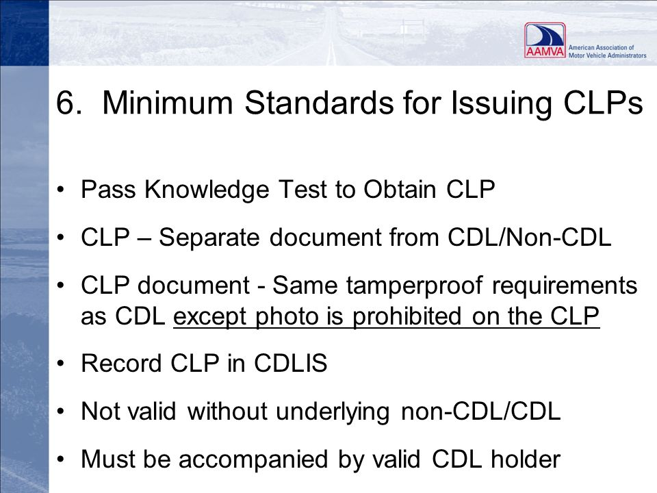 6. Minimum Standards for Issuing CLPs