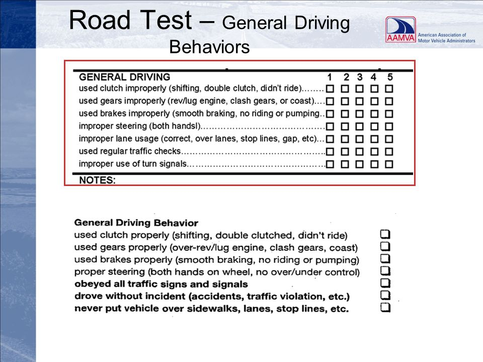 Road Test – General Driving Behaviors