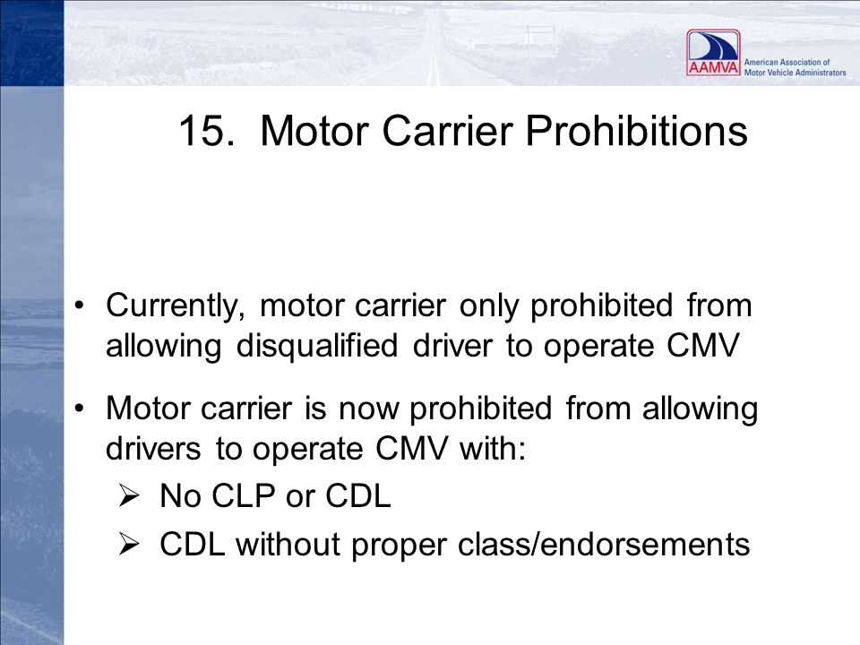 15. Motor Carrier Prohibitions