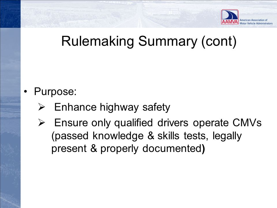 Rulemaking Summary (cont)