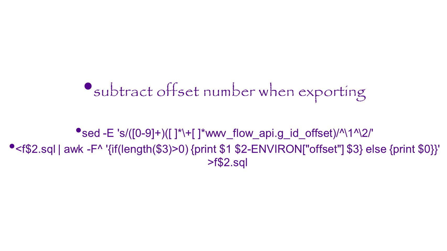 subtract offset number when exporting