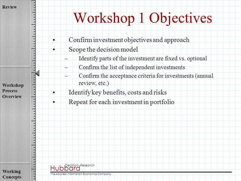 Workshop 1 Objectives Confirm investment objectives and approach