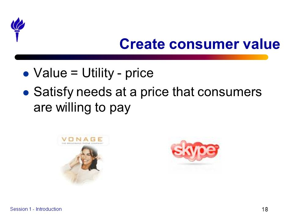 Create consumer value Value = Utility - price