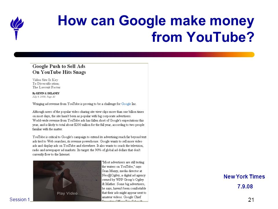 How can Google make money from YouTube