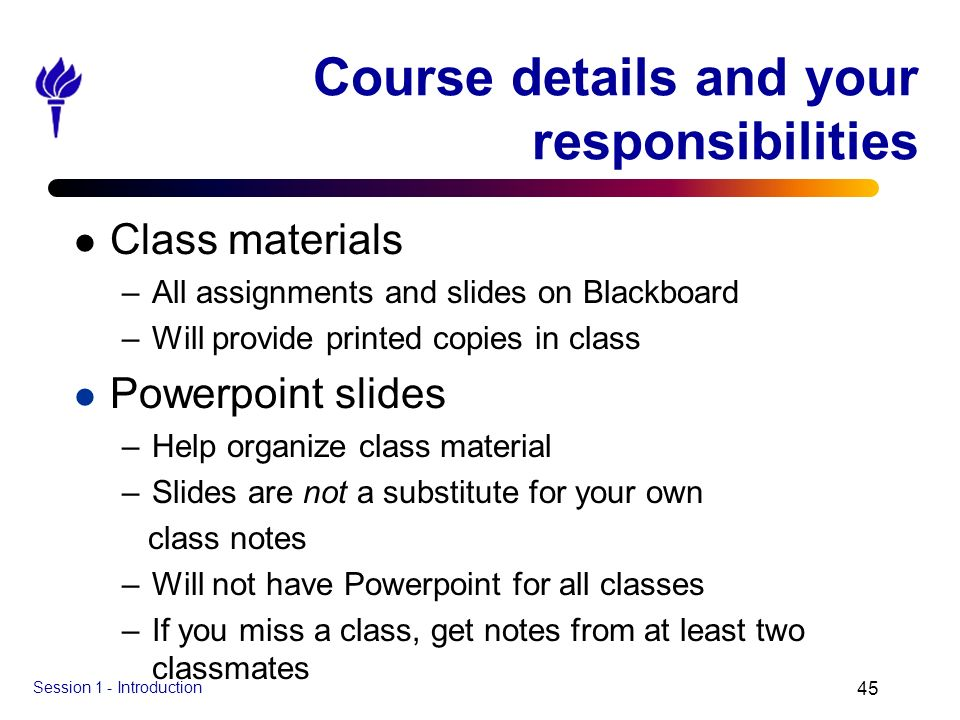 Course details and your responsibilities