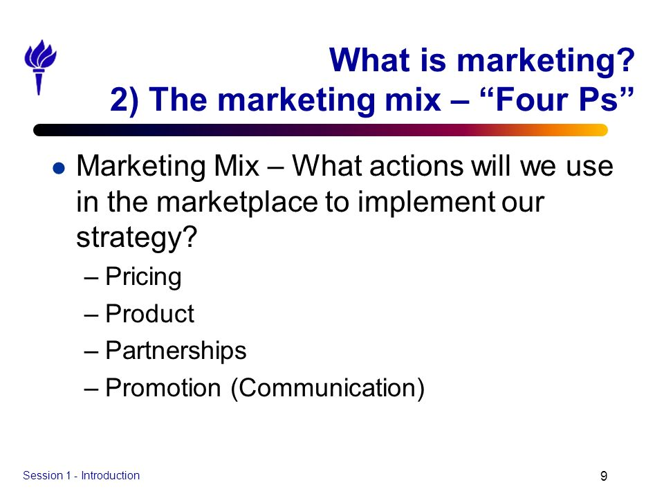 What is marketing 2) The marketing mix – Four Ps