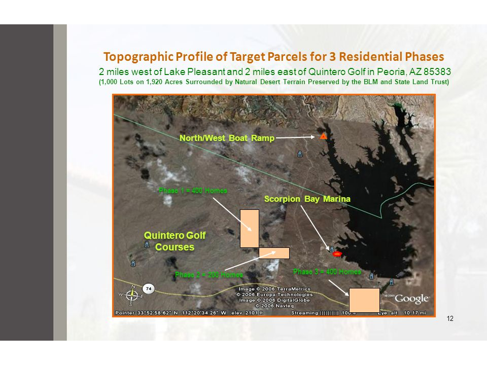 Topographic Profile of Target Parcels for 3 Residential Phases 2 miles west of Lake Pleasant and 2 miles east of Quintero Golf in Peoria, AZ 85383 (1,000 Lots on 1,920 Acres Surrounded by Natural Desert Terrain Preserved by the BLM and State Land Trust)