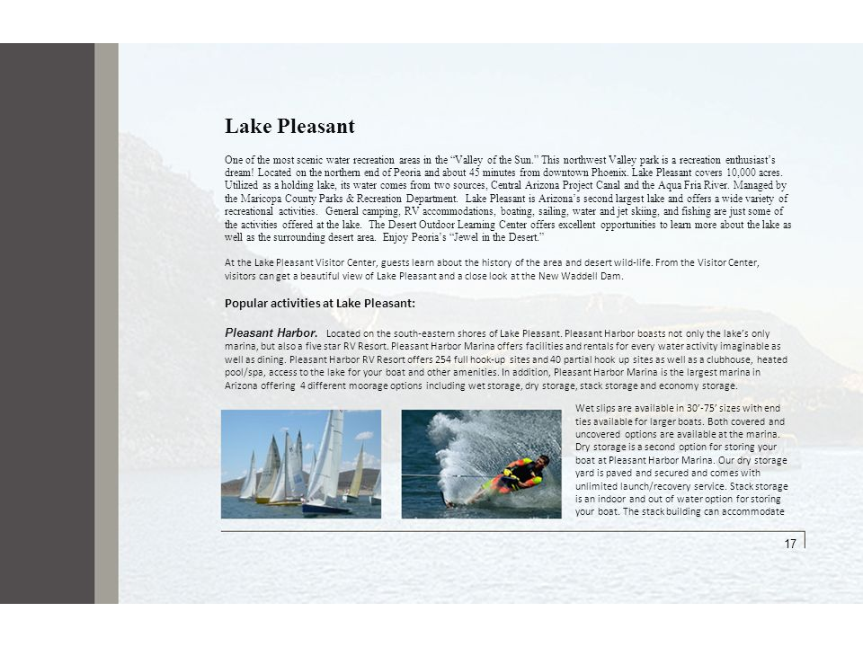 Lake Pleasant 17 Popular activities at Lake Pleasant: