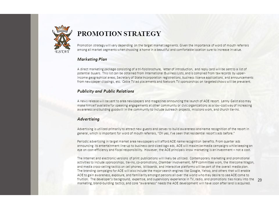 PROMOTION STRATEGY Marketing Plan Publicity and Public Relations