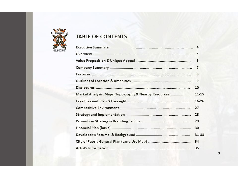TABLE OF CONTENTS Executive Summary ...............................................................….….......... 4.
