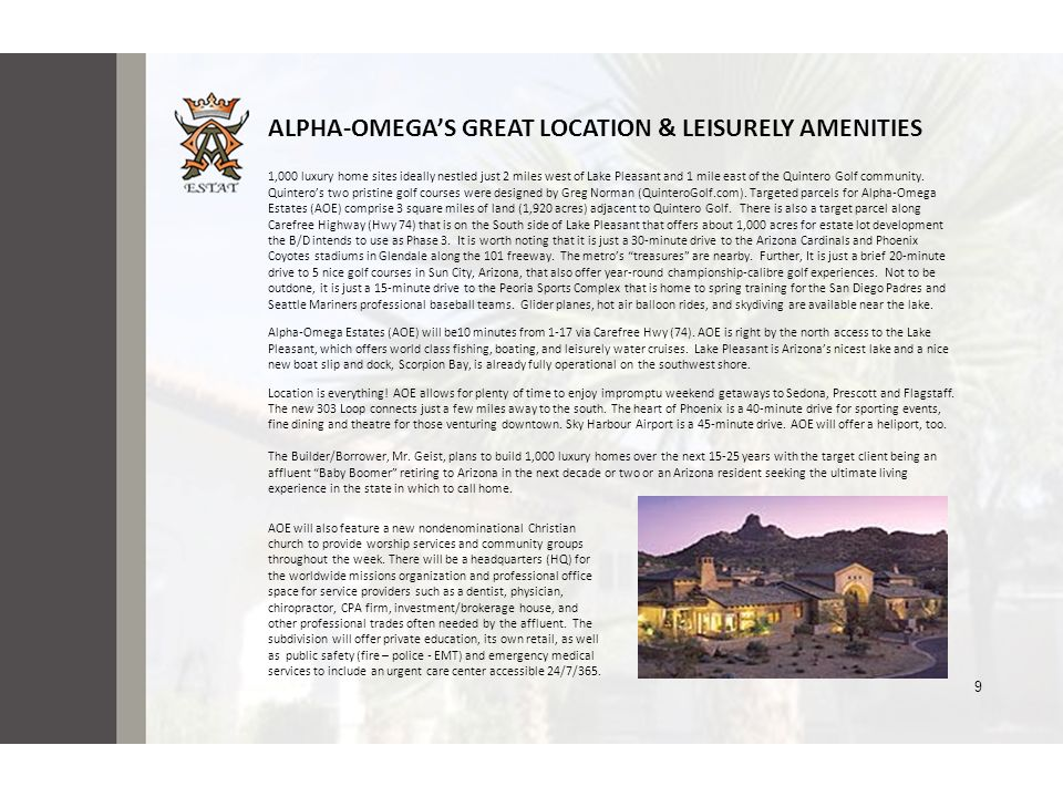 ALPHA-OMEGA'S GREAT LOCATION & LEISURELY AMENITIES