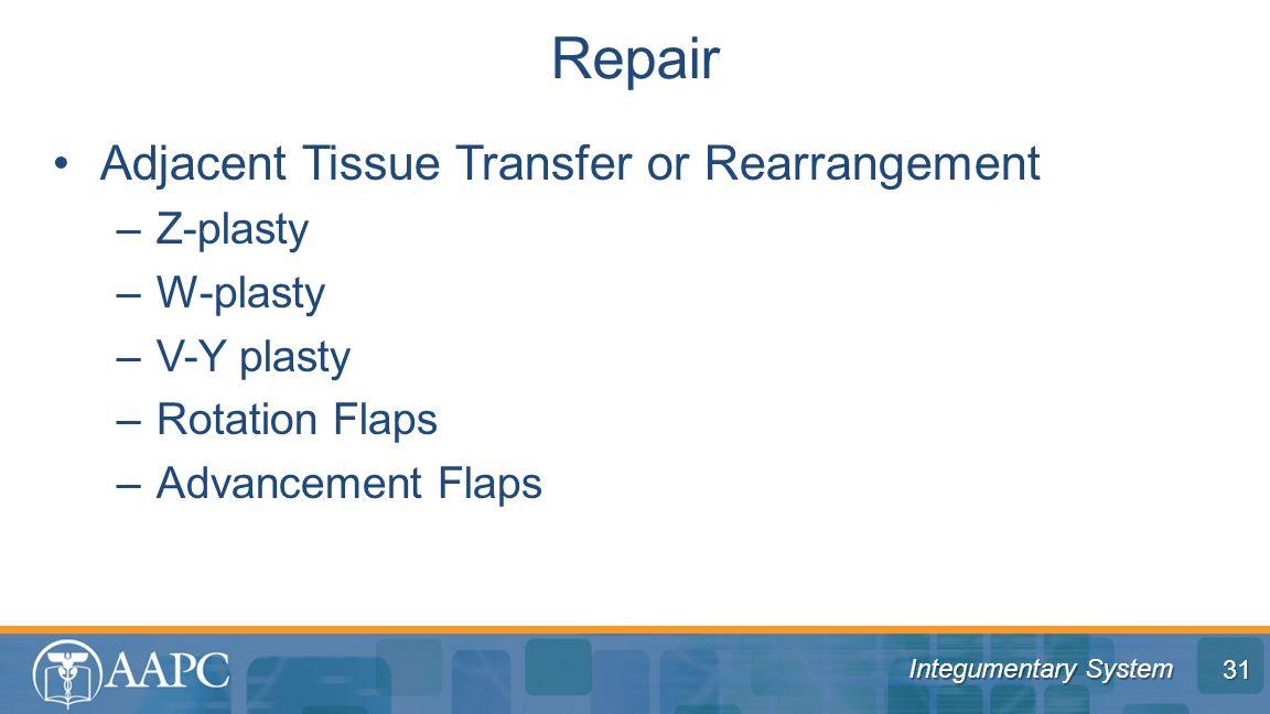 Repair Adjacent Tissue Transfer or Rearrangement Z-plasty W-plasty