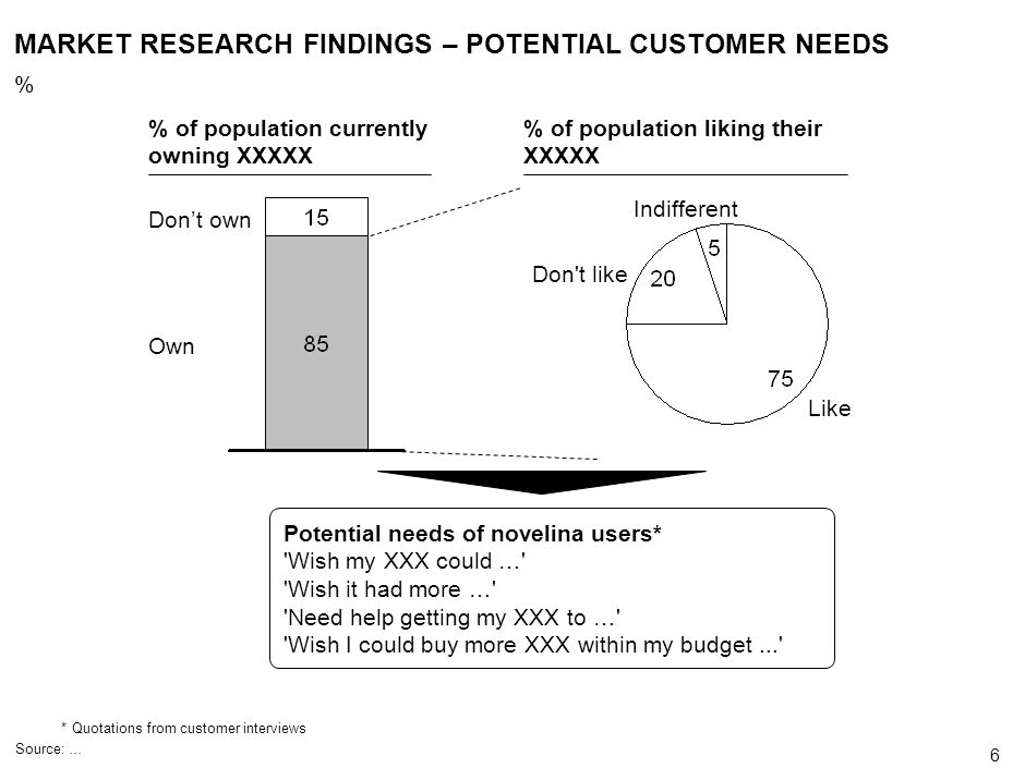 MARKET RESEARCH FINDINGS – POTENTIAL CUSTOMER NEEDS