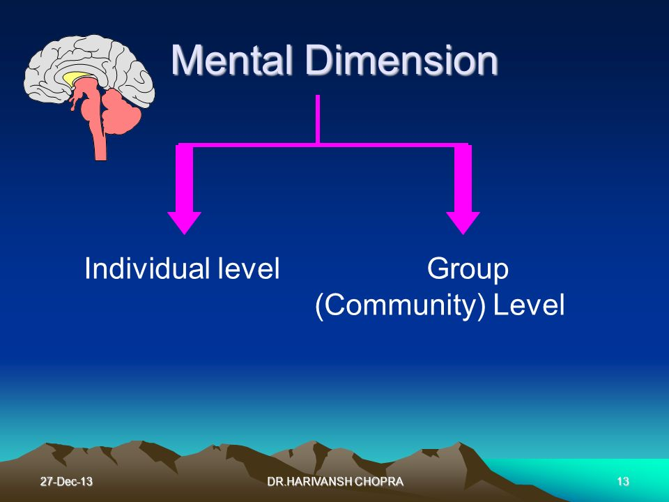 Mental Dimension Individual level Group (Community) Level