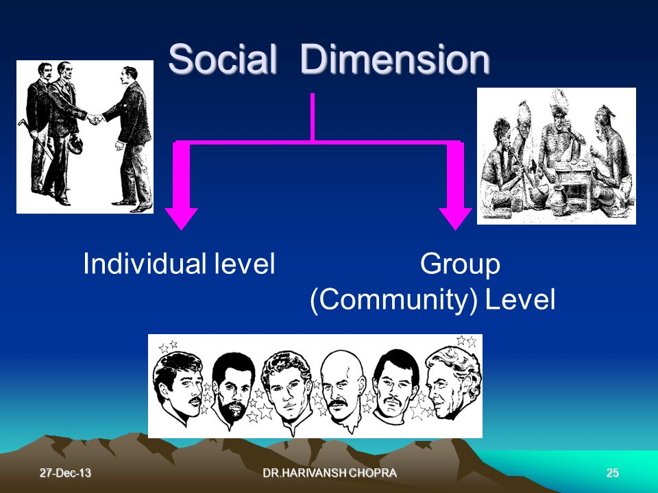 Social Dimension Individual level Group (Community) Level