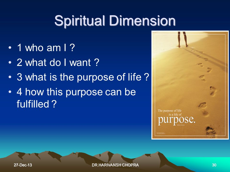 Spiritual Dimension 1 who am I 2 what do I want
