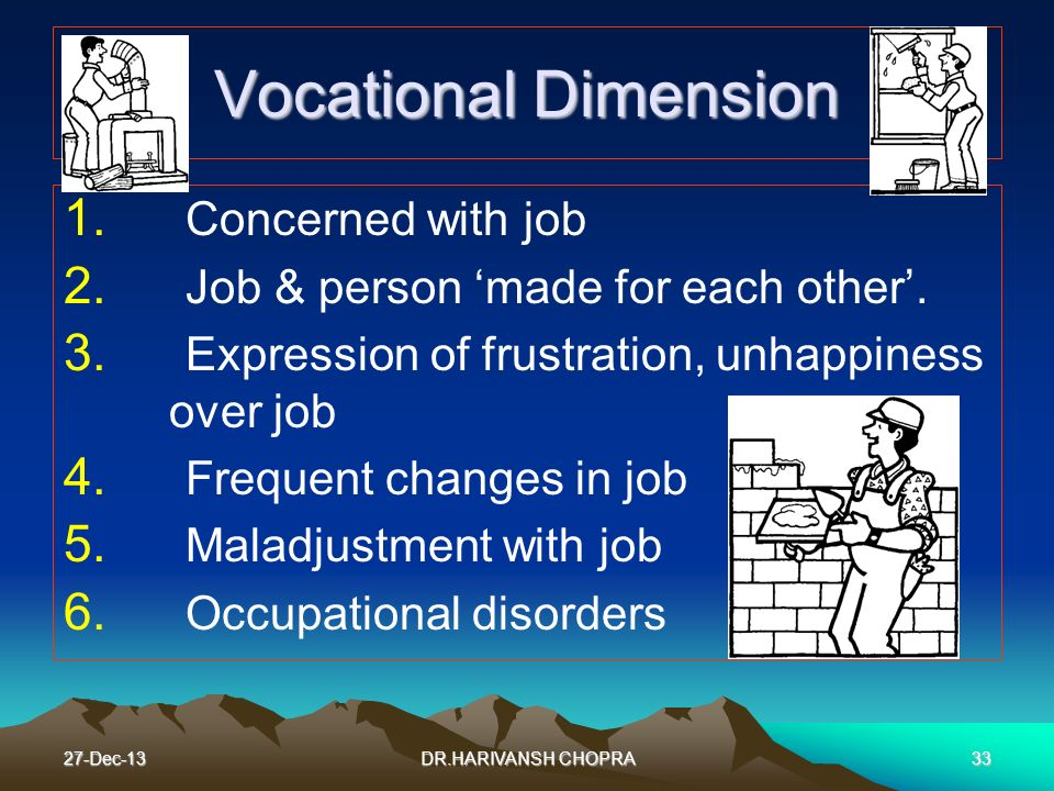 Vocational Dimension Concerned with job