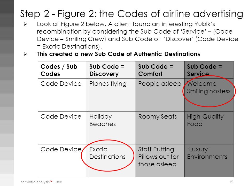 Step 2 - Figure 2: the Codes of airline advertising