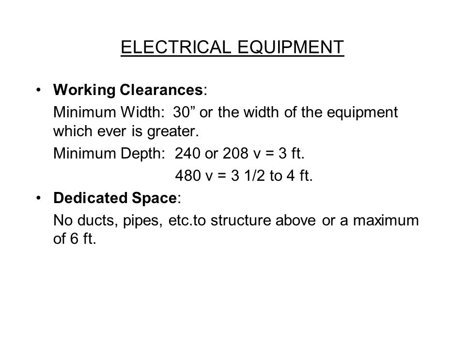 ELECTRICAL EQUIPMENT Working Clearances: