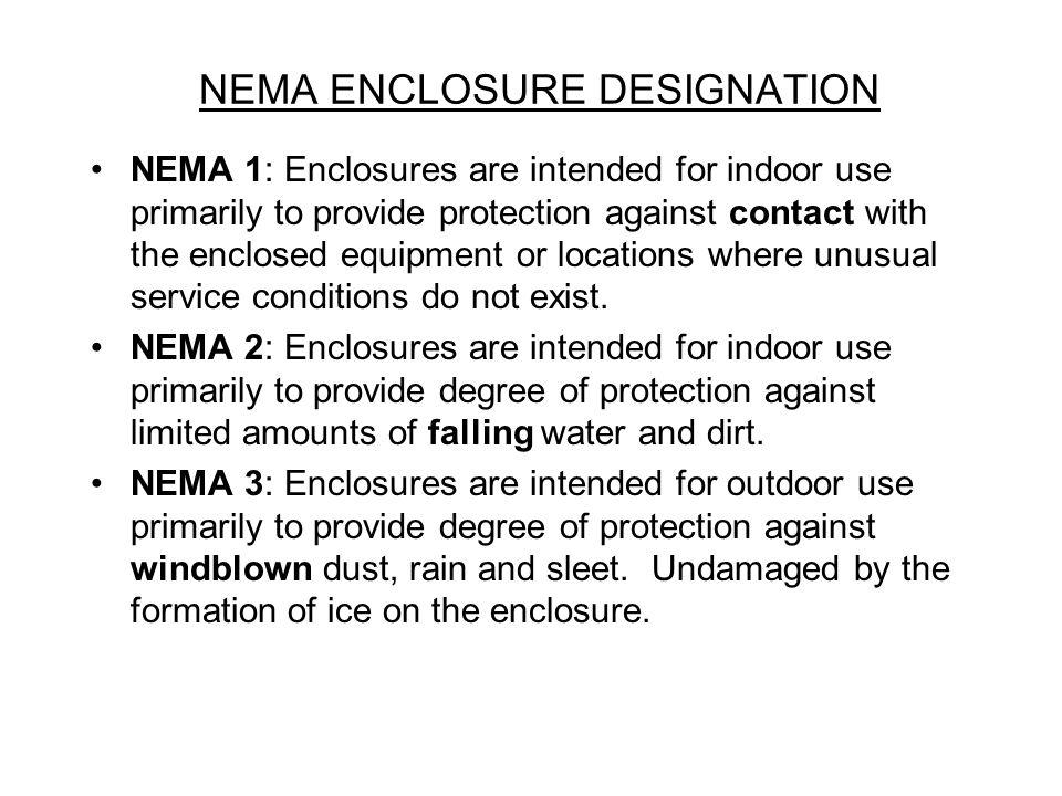 NEMA ENCLOSURE DESIGNATION