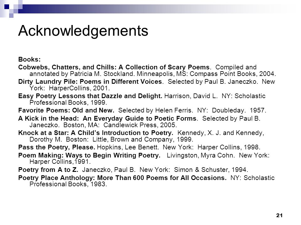 Acknowledgements Books: