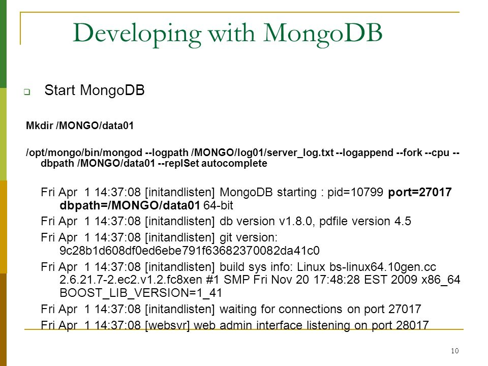 Developing with MongoDB