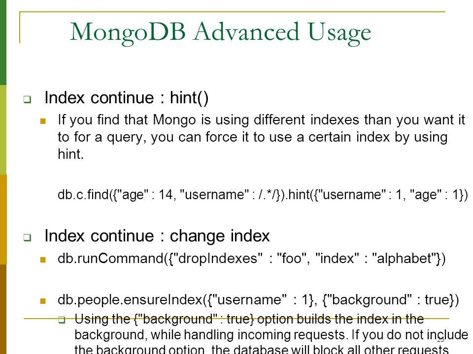 MongoDB Advanced Usage
