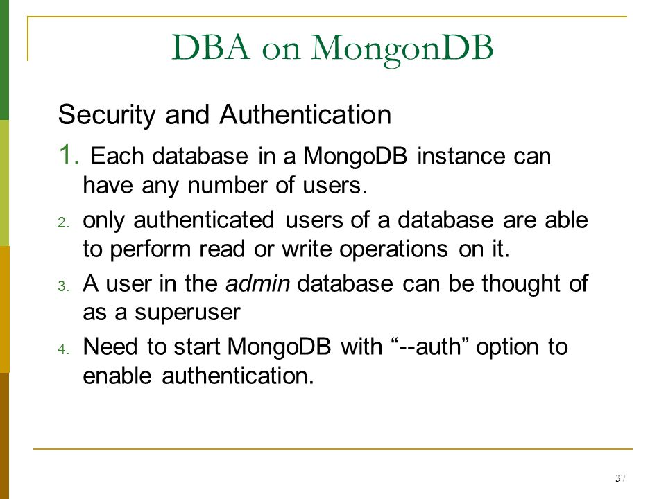 DBA on MongonDB Security and Authentication