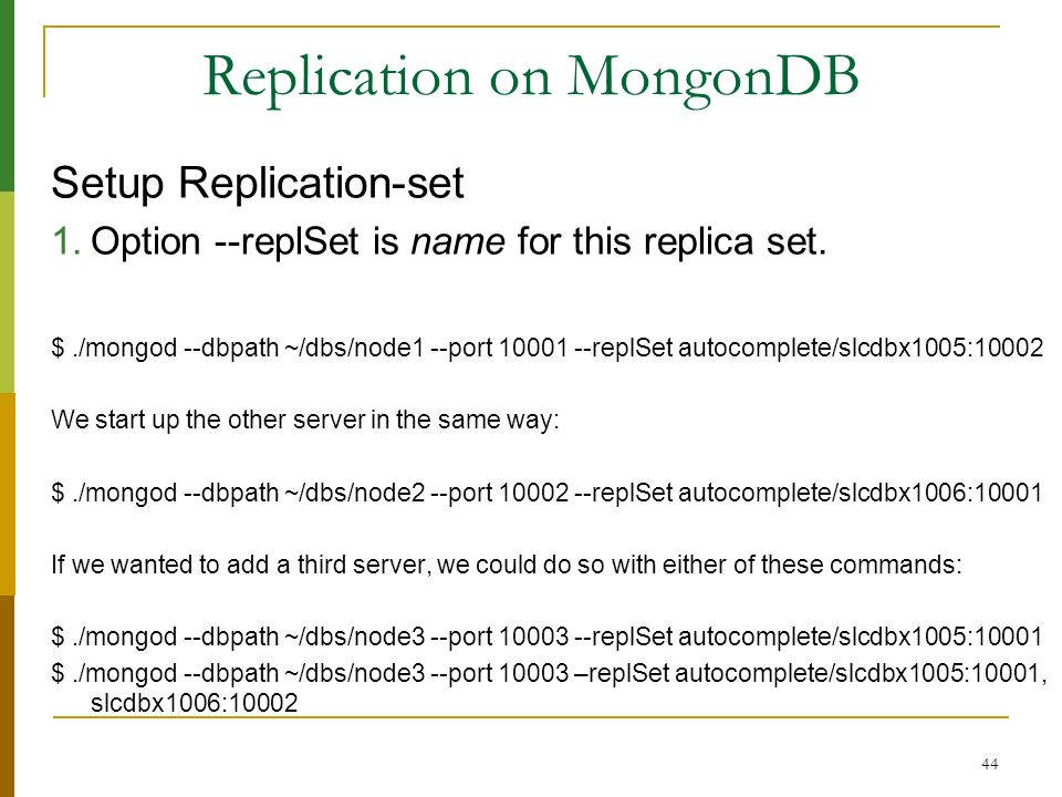 Replication on MongonDB