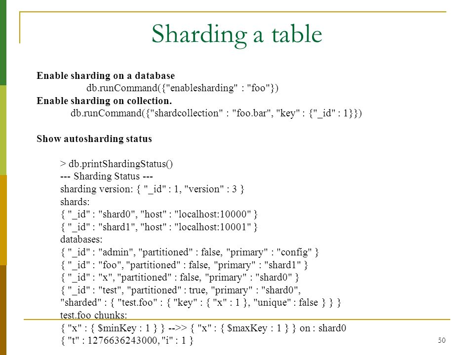Sharding a table Enable sharding on a database