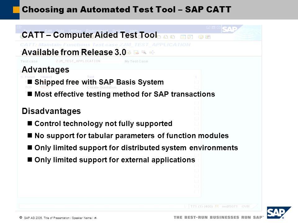 Choosing an Automated Test Tool – SAP CATT