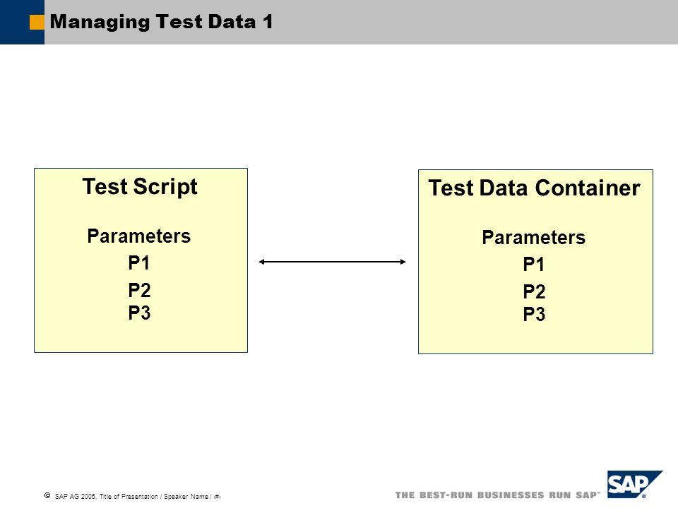 Test Script Test Data Container