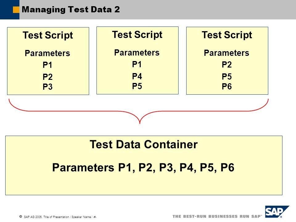 Test Data Container Parameters P1, P2, P3, P4, P5, P6