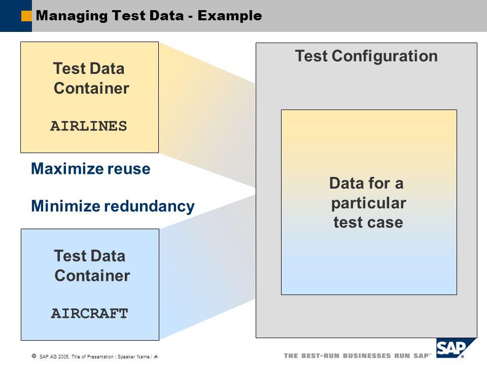 Managing Test Data - Example