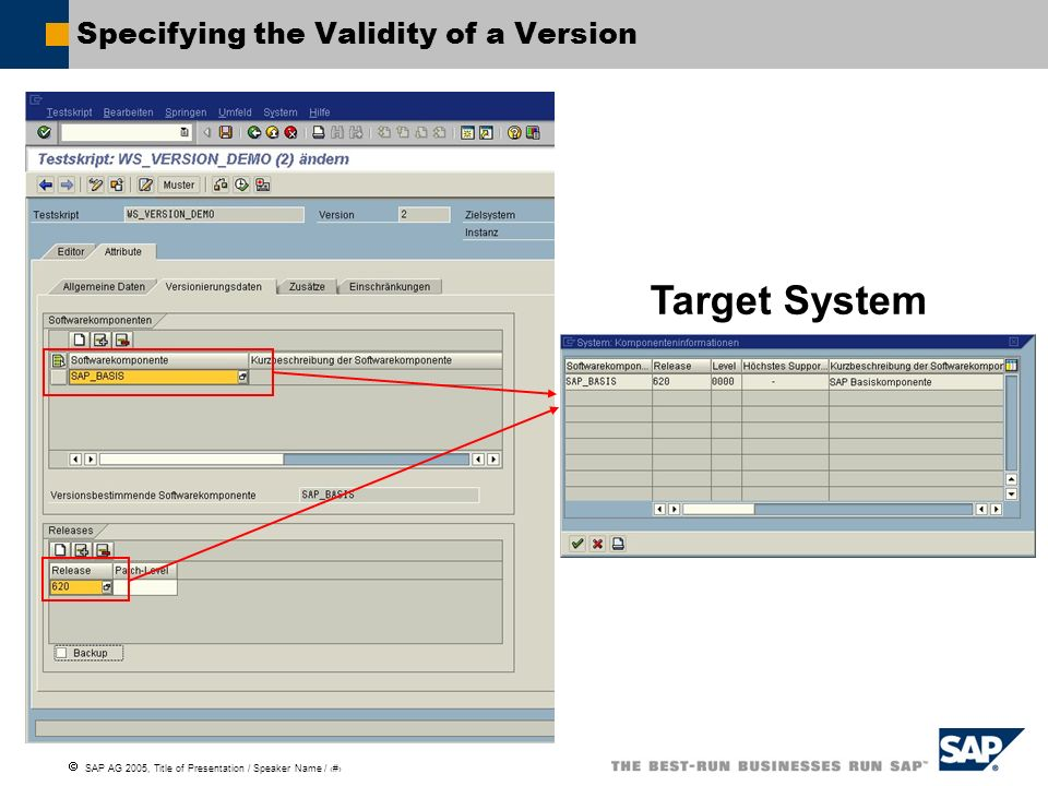 Specifying the Validity of a Version