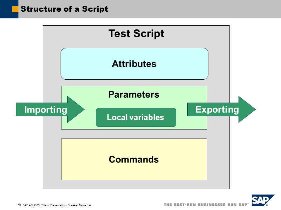 Test Script Attributes Parameters Importing Exporting Commands