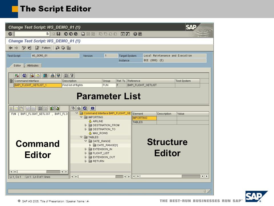 Parameter List Structure Editor Command Editor