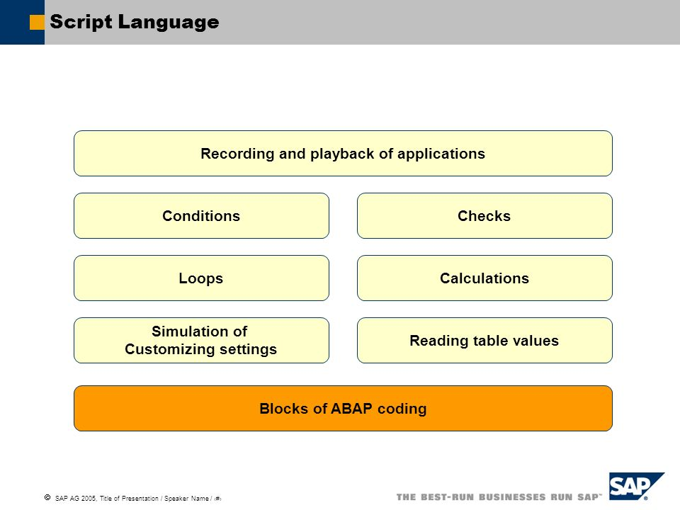Script Language Recording and playback of applications Conditions