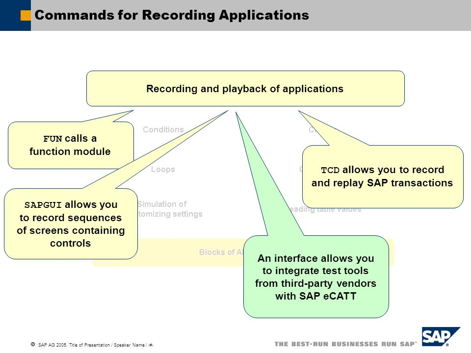 Commands for Recording Applications