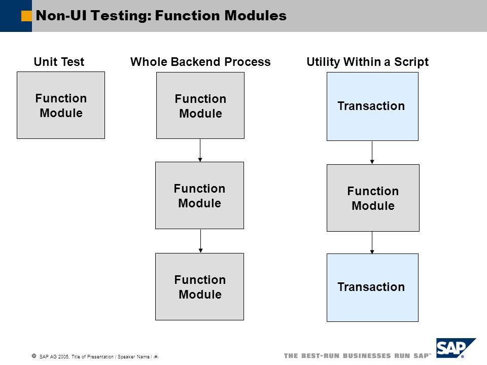 Non-UI Testing: Function Modules
